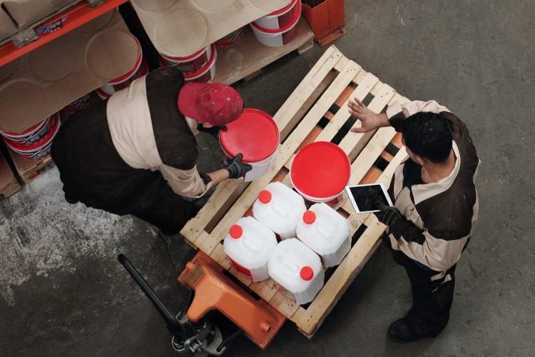 Workers performing manual handling